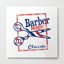 Barber Magic - red, white, blue Metal Print