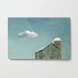 Green Barn and a Cloud Metal Print
