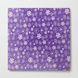 Snowflake Snowstorm With Purple Background Metal Print