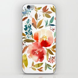 Red Turquoise Teal Floral Watercolor iPhone Skin