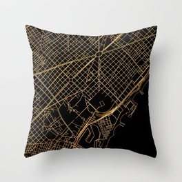 Black and gold Barcelona map Throw Pillow