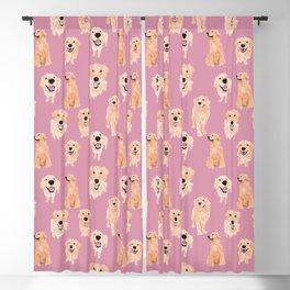 Golden Retrievers on Pink Blackout Curtain