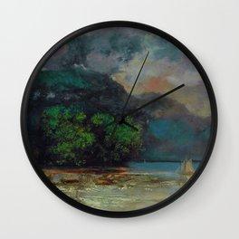 """Gustave Courbet """"Lac Léman avant la tempête (Lake Geneva before the storm)"""" Wall Clock"""
