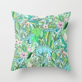 Improbable Botanical with Dinosaurs - soft pastels Throw Pillow