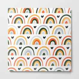 Cute print with abstract rainbow and hearts Metal Print