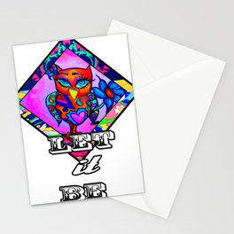 Let it be Pink Owl Stationery Cards