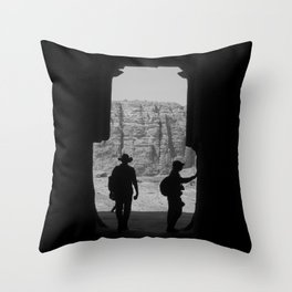 Explore, Petra Valley Throw Pillow
