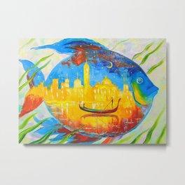 Magic Fishoil Paintingurban Landscapeanimalismnatur ... Metal Print