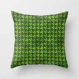 Irish Shamrock -Clover Green Glitter pattern Throw Pillow