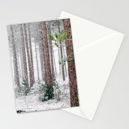 Snowy Pine trees Stationery Cards