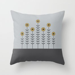 Spring Shoots (Charcoal Black, Dove Grey, Spicy Mustard) Throw Pillow