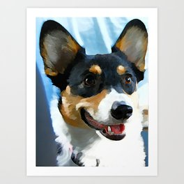 Tri Color Welsh Pembroke Corgi Art Print