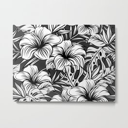 Black and White Tropical Floral Metal Print