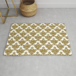 Faux White and Gold Glitter Small Damask Rug