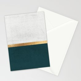 Deep Green, Gold and White Color Block Stationery Cards