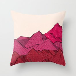 The falling snow and the mountains Throw Pillow