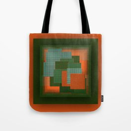 Orange Color Geometry Tote Bag