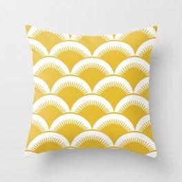 Japanese Fan Pattern Mustard Yellow Throw Pillow