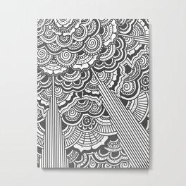 Grey floral mandala design - hydrangeas Metal Print