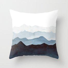 Indigo Mountains Landscape Throw Pillow
