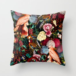 Floral and Animals pattern II Throw Pillow