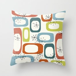 Mid Century Modern Shapes 1950s colors  Throw Pillow