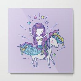 Mermaid Riding Unicorn Purple Metal Print