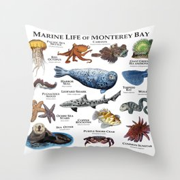 Marine Life of Monterey Bay Throw Pillow
