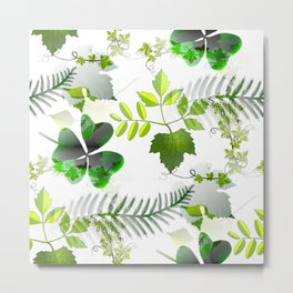 Four-Leaf Clover in Greneery Foliage Pattern Metal Print