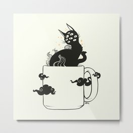 Many Eyed Cat In Coffee Cup With Magic Clouds Metal Print