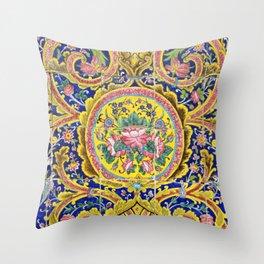 Floral Persian Tile Throw Pillow