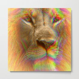 Psychedelic Glitch Trippy Lion Close-up Print Metal Print