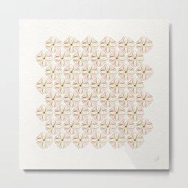 Rose Gold Watercolor Tile Metal Print