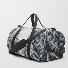 Winter Woods II - Snow Capped Forest Adventure Nature Photography Duffle Bag