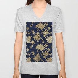 Elegant vintage navy blue faux gold flowers Unisex V-Neck