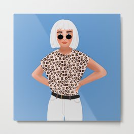 Leopard Girl Illustration, Fashion Outfit, Hipster Girl Metal Print