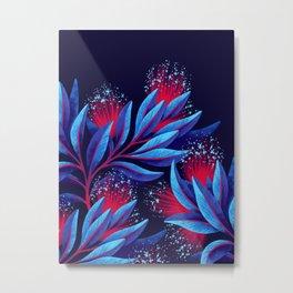 Pohutukawa - Red / Blue Metal Print