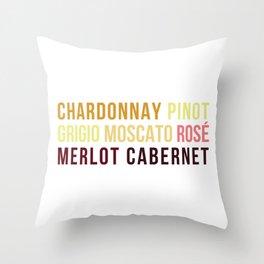 Wine Typography Spectrum Throw Pillow