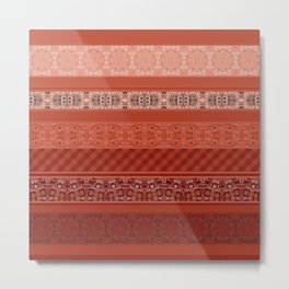 Orange striped patchwork Metal Print