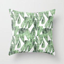 Island Goddess Leaf Green Throw Pillow