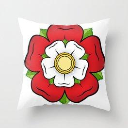 Red Tudor Rose England Flag Red Union Historic Heraldry Throw Pillow