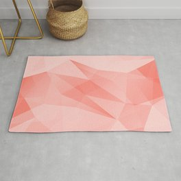Pantone Living Coral Color of the Year 2019 on Abstract Geometric Shape Pattern Rug
