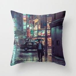The Smiling Man // Rainy Tokyo Nights Throw Pillow