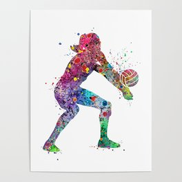 Volleyball Girl Watercolor Print Girls Room Decor Volleyball Poster Girl Volleyball Wall Art Poster