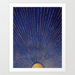 Twilight / Blue and Metallic Gold Palette Art Print