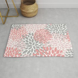 Floral Pattern, Coral Pink and Gray Rug