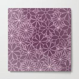Stylized Flower Bunch Pink & Plum Metal Print