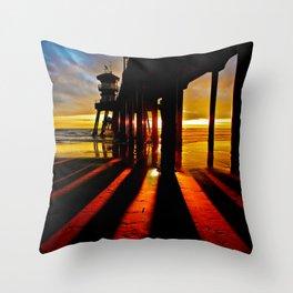 Surf City Sunsets ~ Dark Shadows HB Pier 1 Throw Pillow
