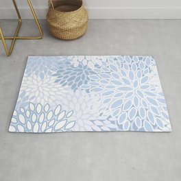 Floral Prints, Soft Blue and White, Modern Print Art Rug