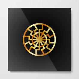 Black Sun symbol in gold- Schwarze Sonne- Occult subculture symbol Metal Print